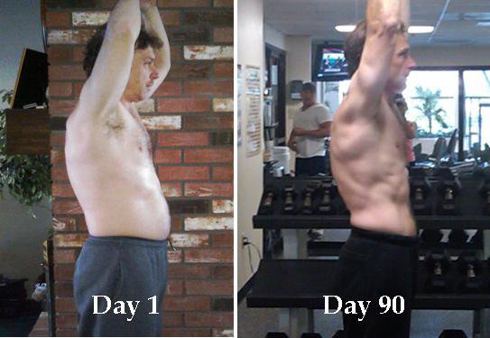 Below are my dad's P90X before and after photos.. P90X Before and After
